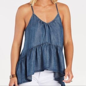 Evereve Lovestitch peplum ruffled chambray tank